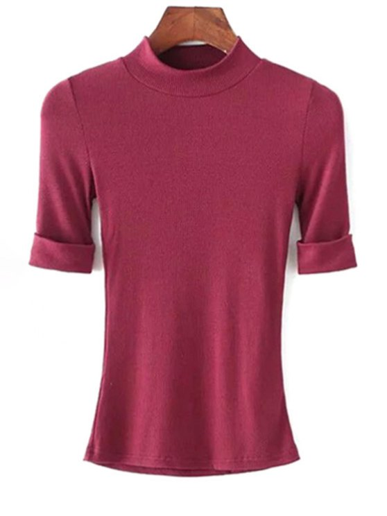 latest Thread Solid Color Round Neck Short Sleeve T-Shirt - WINE RED M