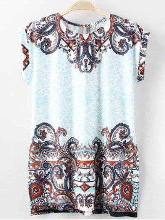 Floral Print Round Neck Short Sleeve T-Shirt - BLUE S Mobile