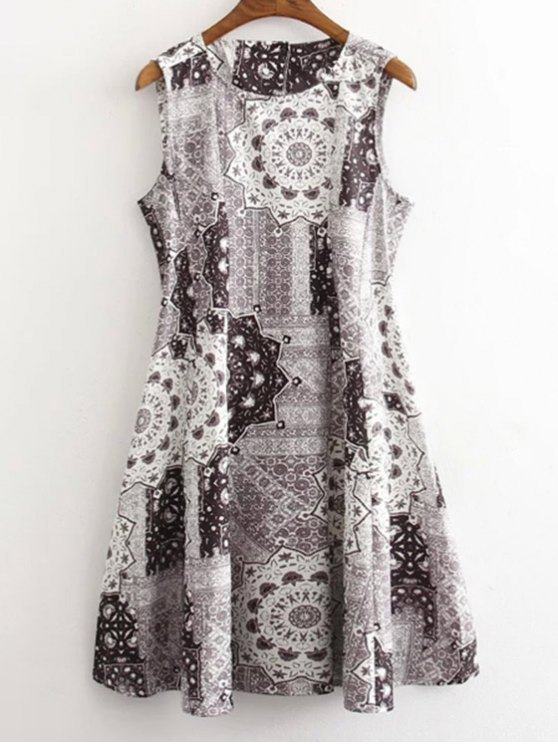 womens Floral Print Round Neck Sleeveless Dress - GRAY S