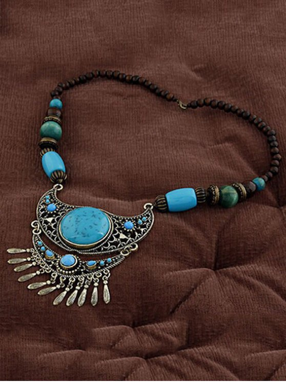 Ethnic Faux Turquoise Beaded Pendant Necklace - LAKE BLUE  Mobile