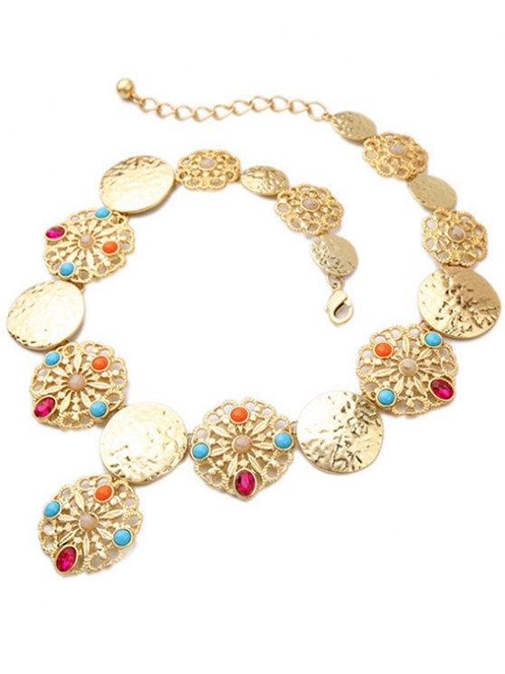 Faux Gem Golden Statement Necklace - GOLDEN  Mobile