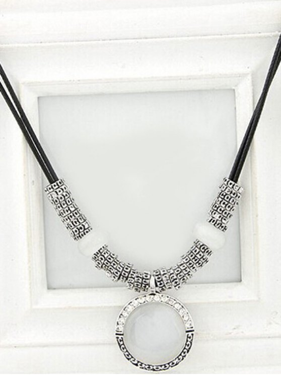 Faux Gem Alloy Double-Deck Necklace -   Mobile