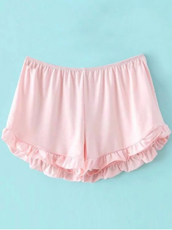 Solid Color Trimming Elastic Waist Shorts - PINK ONE SIZE(FIT SIZE XS TO M) Mobile