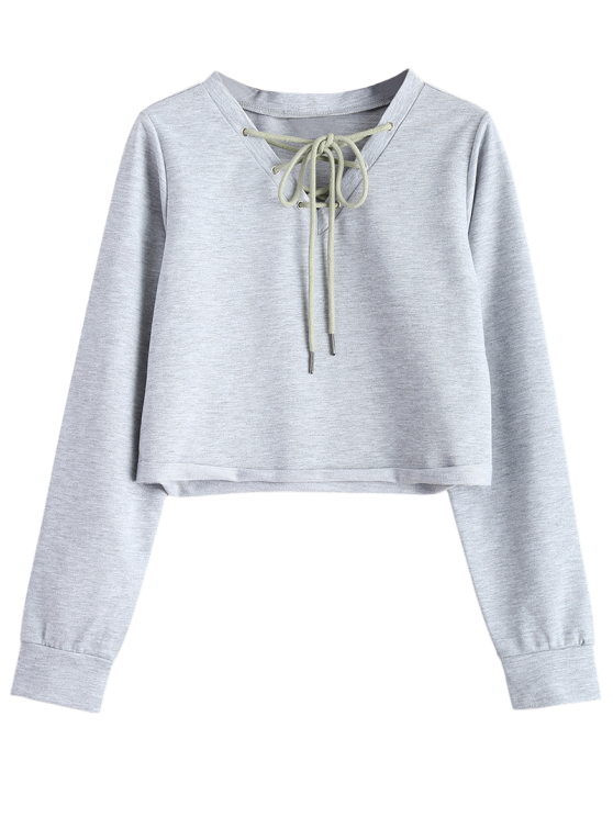 Lace Up Cropped Sweatshirt - GRAY 2XL Mobile