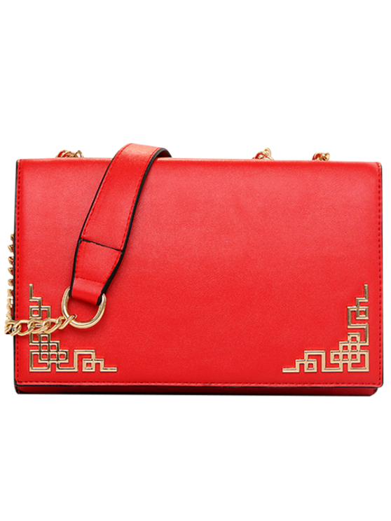 shop Metallic Chains PU Leather Crossbody Bag - RED