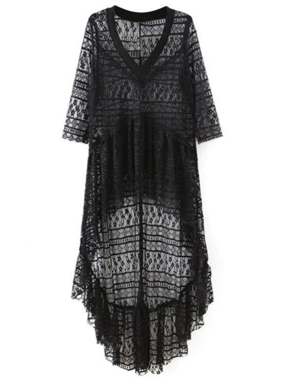High-Low Hem col V à manches 3/4 en dentelle Cover Up - Noir L