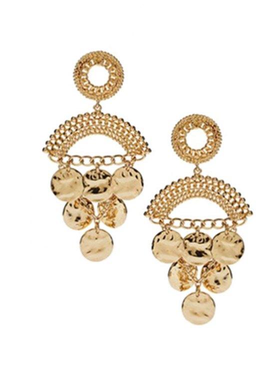 sale Round Piece Tassel Earrings - GOLDEN
