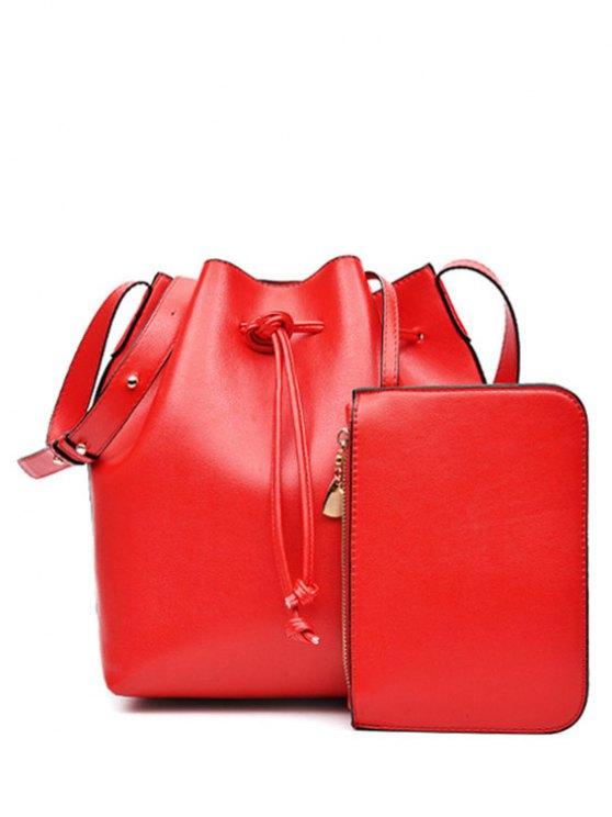 Crossbody sólida cadena de cuero de la PU del color del bolso - Rojo