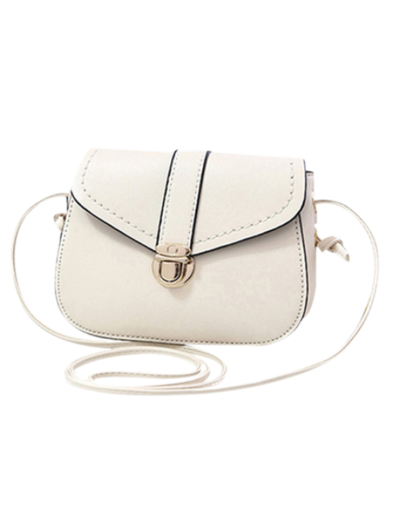 fashion Solid Color Push Lock Crossbody Bag - WHITE