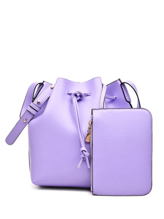 outfit Solid Color String PU Leather Crossbody Bag - LIGHT PURPLE