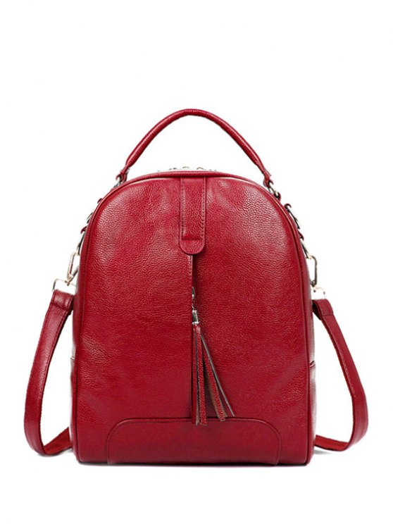 Tassel Solid Color PU Leather Satchel - RED  Mobile
