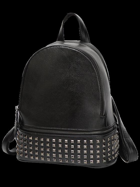 new Rivets Zips Solid Color Satchel - BLACK