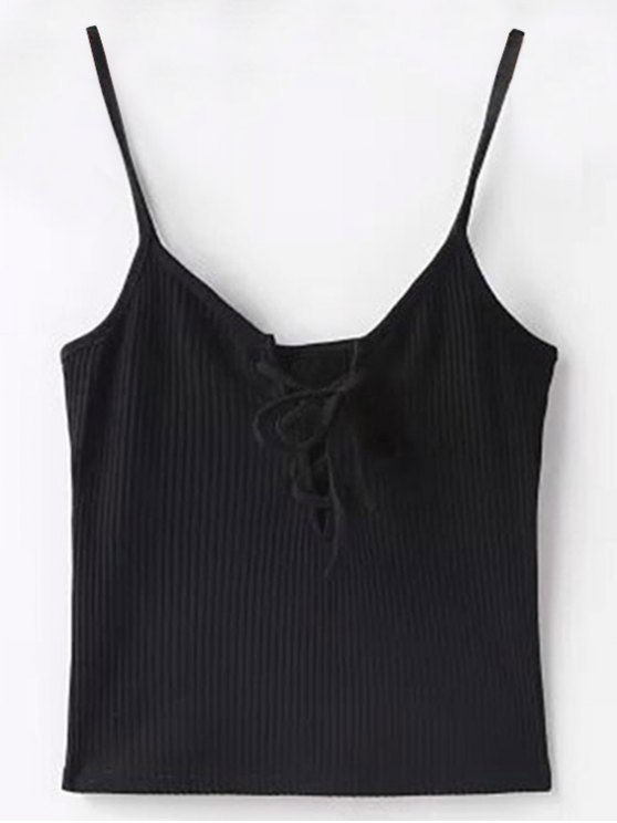 latest Solid Color Cami Lace Up Tank Top - BLACK S