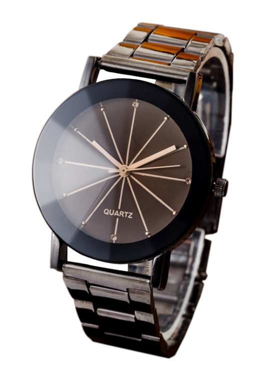 Conical Surface Quartz Watch - GUN METAL  Mobile