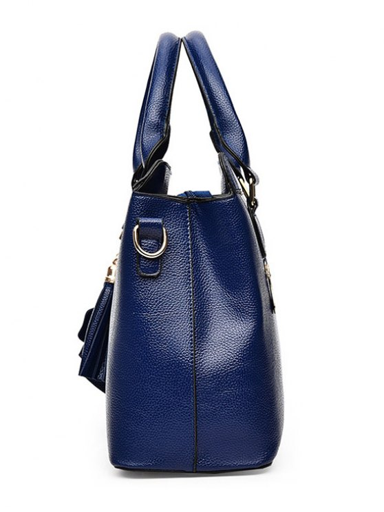 Pendant Solid Color PU Leather Tote Bag - SILVER  Mobile