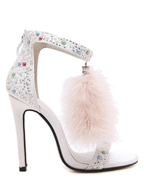 Fausse fourrure perles colorées Sandales à talons aiguilles - Blanc 40