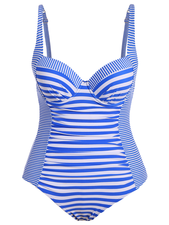 Stripes Underwire Plus Size Swimwear One Piece - STRIPE 3XL Mobile