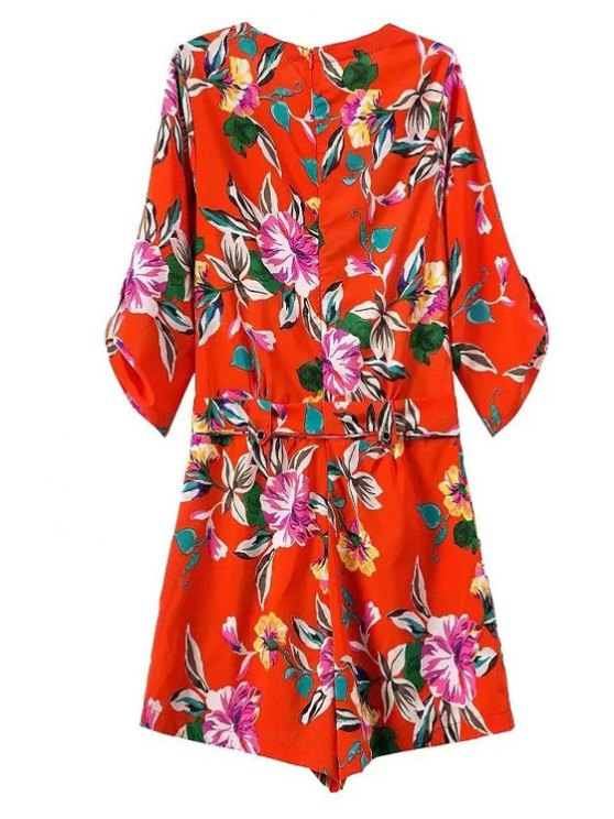Bowknot Floral Print V Neck 3/4 Sleeve Romper - RED S Mobile