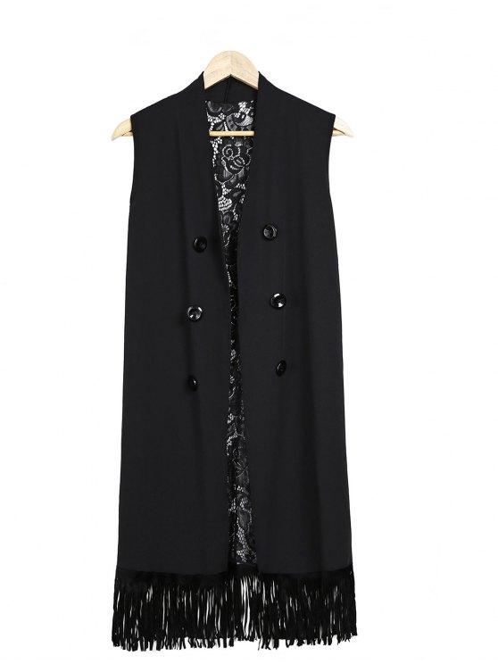 Dentelle Splice Noir Collarless Waistcoat - Noir Taille Unique(S'adap