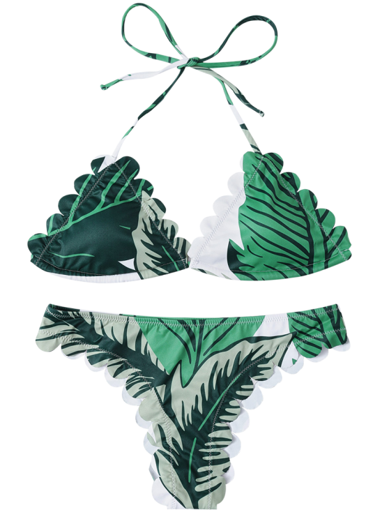 Halter Scalloped Printed Bikini - GREEN S Mobile