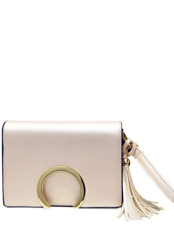 fashion Cover Metallic Tassel Crossbody Bag - OFF-WHITE