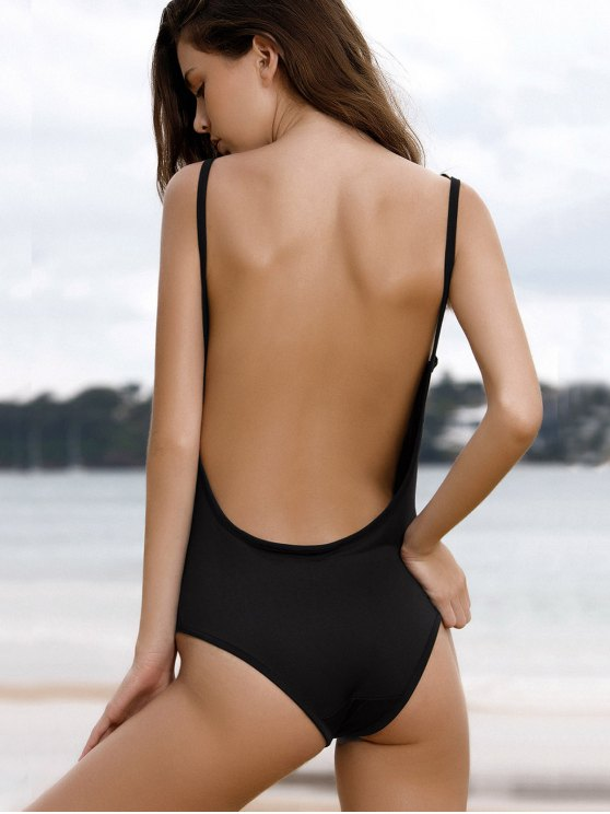 Spaghetti Strap Backless One-Piece Swimwear - BLACK S Mobile