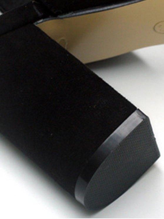 Black Flock Chunky Heel Sandals - BLACK 35 Mobile