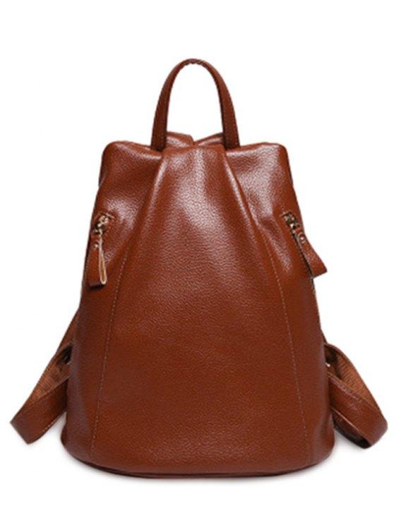 Solide en cuir couleur PU Zips Satchel - Brun