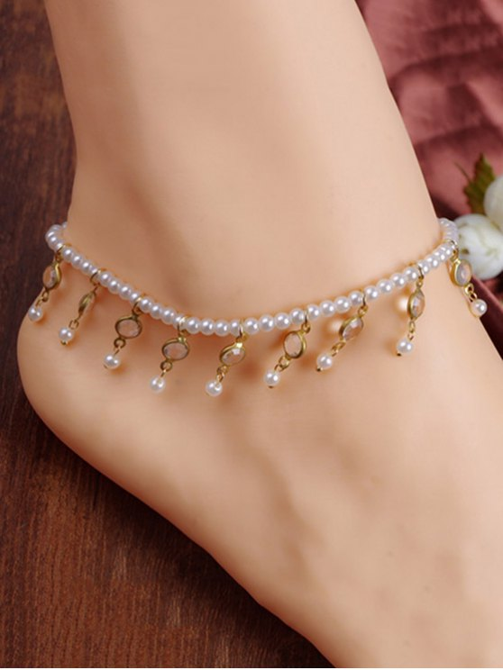 shop Chic Faux Pearl Tassel Elastic Anklet For Women - WHITE