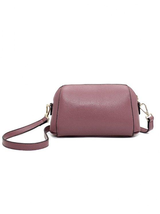 Solid Color Metal Letter Crossbody Bag - PINK  Mobile