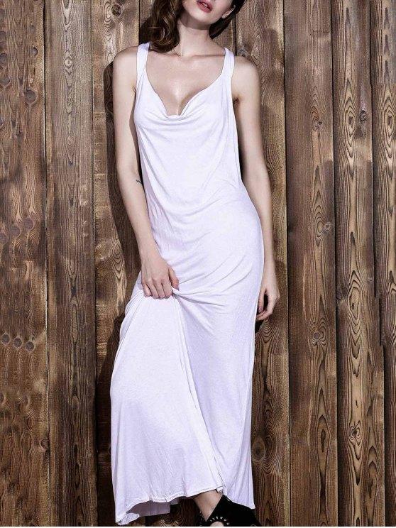أبيض الخامس الرقبة بلا أكمام عارية الذراعين فستان ماكسي - أبيض S