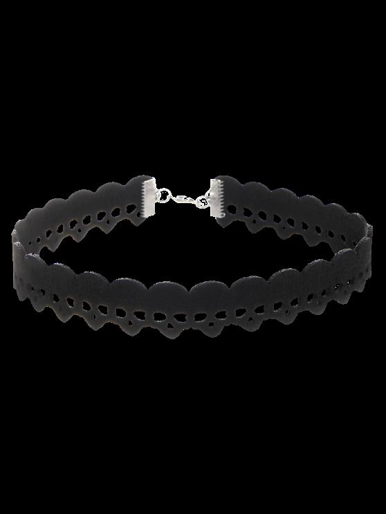 latest Faux Leather Velvet Skulls Choker Necklace - BLACK