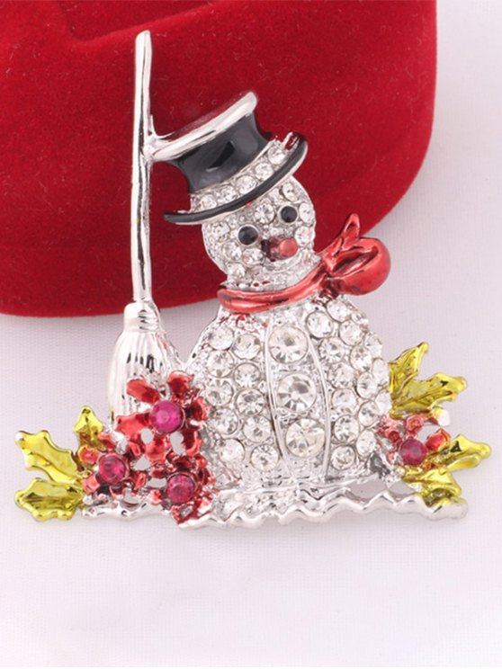 Rhinestone Embellished Christmas Snowman Brooch -   Mobile