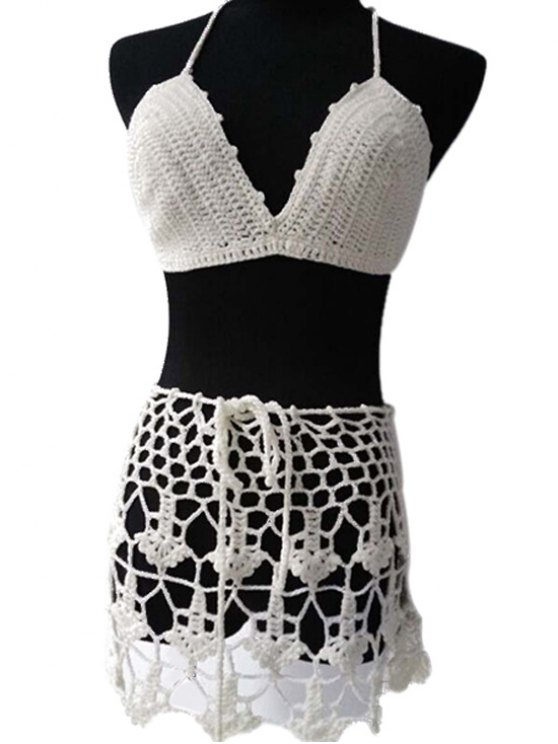 affordable White Crochet Halter Bikini Set - WHITE ONE SIZE(FIT SIZE XS TO M)