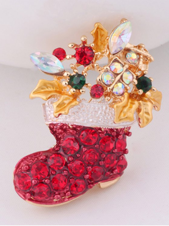 Rhinestone Adorn Christmas Boots Brooch -   Mobile