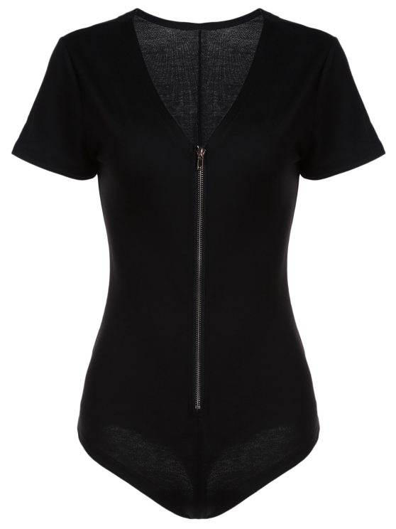 Black Zipper Plunging Neck Short Sleeve Bodysuit - BLACK S Mobile