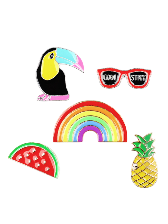 shops Rainbow Pineapple Watermelon Glasses Brooch Set - COLORMIX