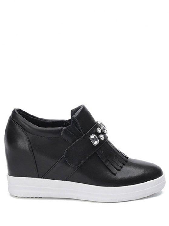 Diamantes de imitación de la franja de la Ronda del dedo del pie zapatos de cuña - Negro 35