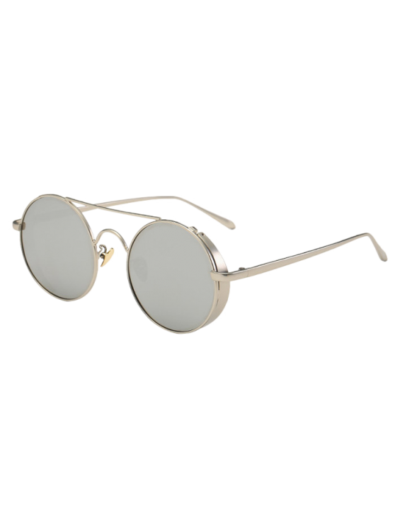 Crossbar Mirrored Round Sunglasses - SILVER  Mobile