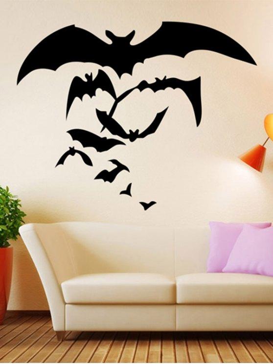 outfits Halloween Bat Pattern Removable Waterproof Room Wall Sticker - BLACK