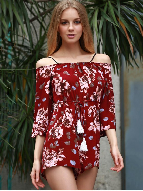 Floral Print Off The Shoulder Playsuit - WINE RED XL Mobile