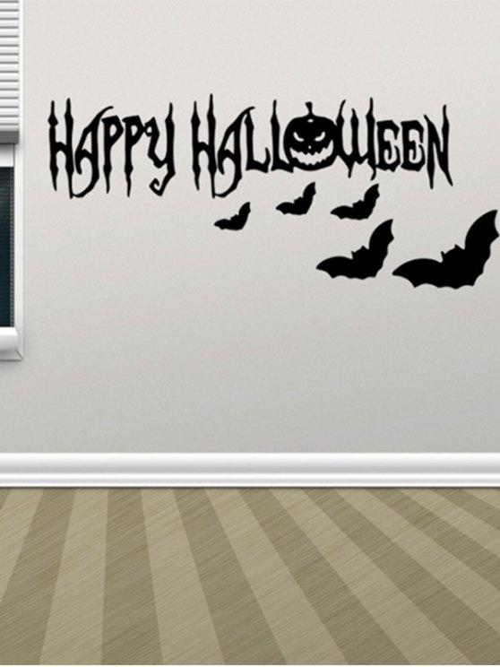 Room Decoration Wordart Happy Halloween Bat Design Vinyl Wall Sticker - BLACK  Mobile