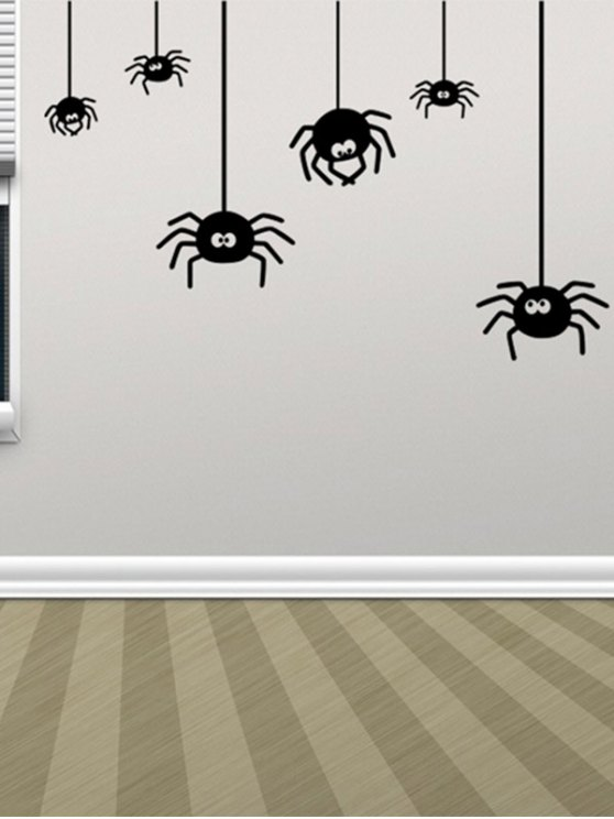 shops Irregular Spider Design Halloween Vinyl Wall Stickers Custom - BLACK