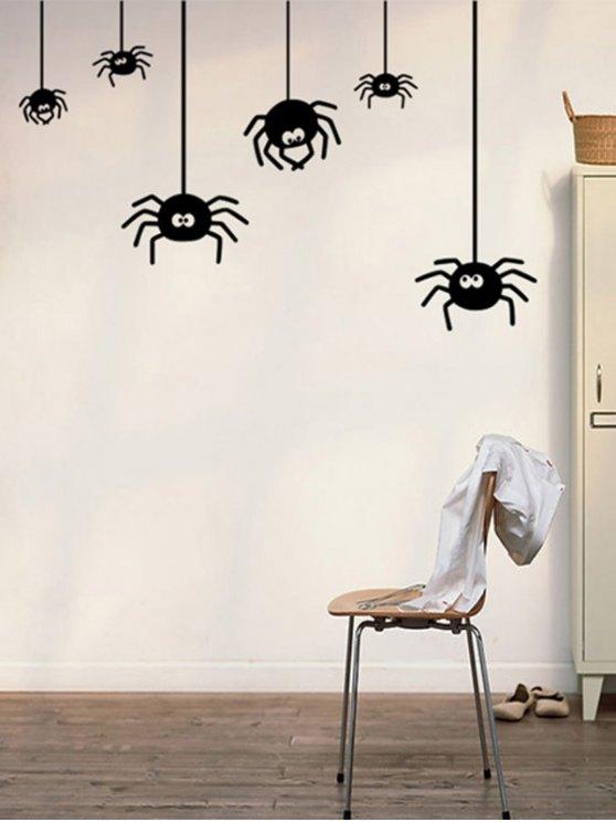 Irregular Spider Design Halloween Vinyl Wall Stickers Custom - BLACK  Mobile