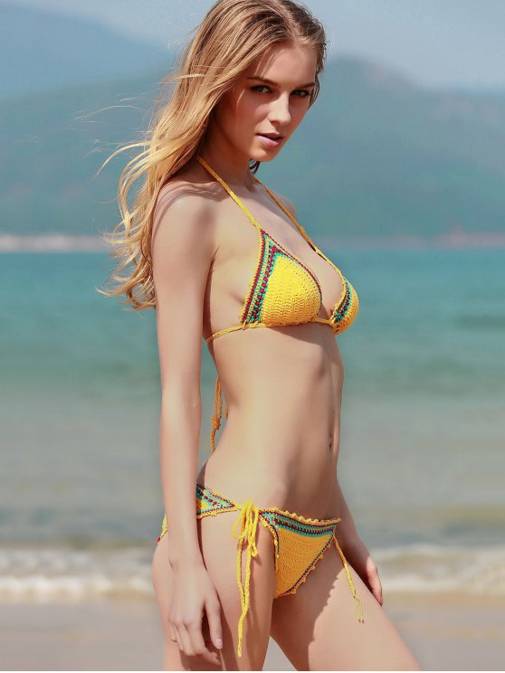 Spaghetti Strap Lace Up Crochet Bathing Suit - YELLOW L Mobile