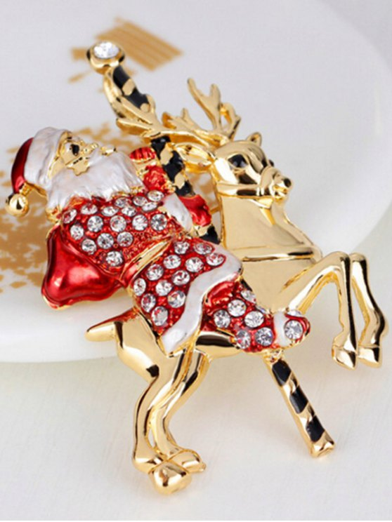 Christmas Reindeer Rhinestone Santa Brooch -   Mobile