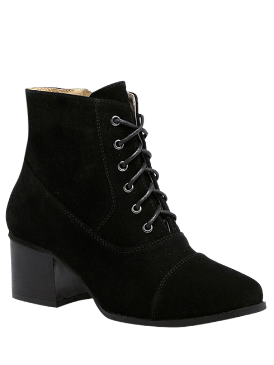 affordable Suede Square Toe Chunky Heel Boots - BLACK 39