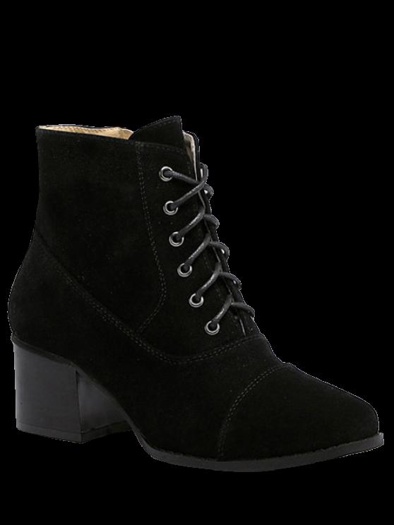 Suede dedo del pie cuadrado botas de tacón grueso - Negro 38