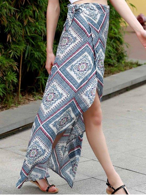 Argyle Print High Waist High Low Skirt - COLORMIX S Mobile
