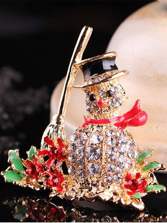 Christmas Snowman Rhinestone Adorn Brooch -   Mobile